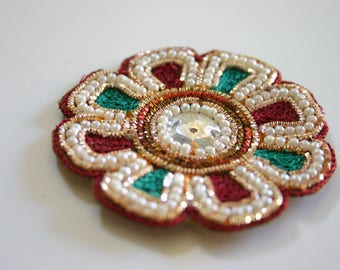 Christmas Flower - Indian fabric and sequin Appliqué  (1)