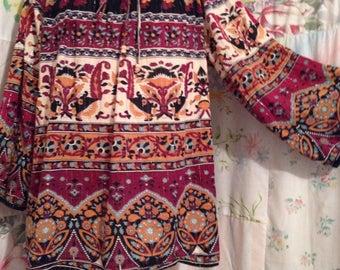LARGE/EXTRA LARGE,  Blouse Bohemian Hippie Flowerchild Boho Multicolor Top