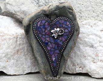 Purple Mosaic Heart, Lily, Garden Stone,  Gardener Gift, Home Decor, Garden Decor,