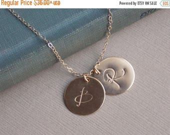 SALE - Large Initial Discs, 14k GOLD Fill 1 2 3 4 5 6 Initial Discs, Personalized Jewelry, Monogram Necklace, Mother Family Jewelry