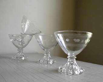 Candlewick Cocktail Glasses , Boopie Glass Stemware , Champagne Coupes , Mid Century Cocktail Glasses , Set of 4 Sherbert Glasses