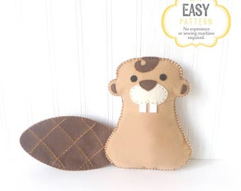 Stuffed Beaver Sewing Pattern, Hand Sewing Felt Canadian Beaver Plush Toy, Instant Download, Canada 150