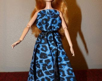 Blue & black Leopard print ruffle top maxi dress for Fashion Dolls - ed1048