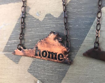 Home Virginia shaped Copper necklace