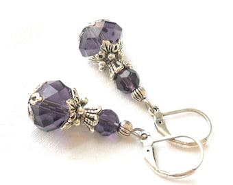 purple victorian earrings filigree earrings purple earrings vintage style purple jewelry crystal earrings victorian inspired