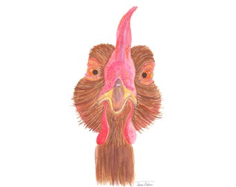 Chicken face art print, farm animal mugshot picture, nosey hen, watercolor painting, sketchbook art, barnyard, watcha doin, annoyed rooster
