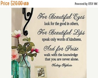 20% OFF Audrey Hepburn- For Beautiful Eyes-  Vinyl Lettering wall words quotes graphics decals Art Home decor itswritteninvinyl