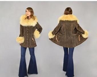 SUMMER SALE 70's Shearling + Suede Penny Lane Coat