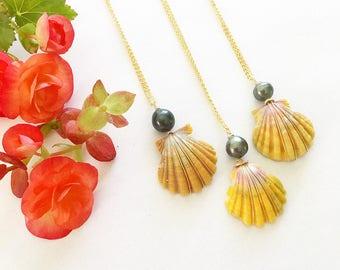 Tahitian Pearl Hawaiian Sunrise Shell Necklace Gold Filled
