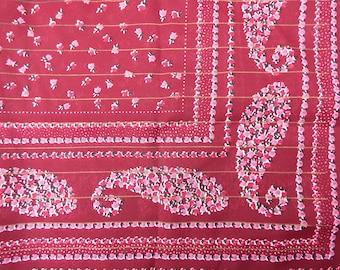 Vintage Paisley Scarf - Vintage Boho Scarf - 70s Boho Scarf - Large Square Scarf - Floral Scarf