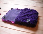 Hand Knitted Coin Purse Mini Pink and Purple Purse.