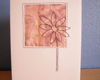 Stitched Flower Card, Greetings card Blank Card, Note Card
