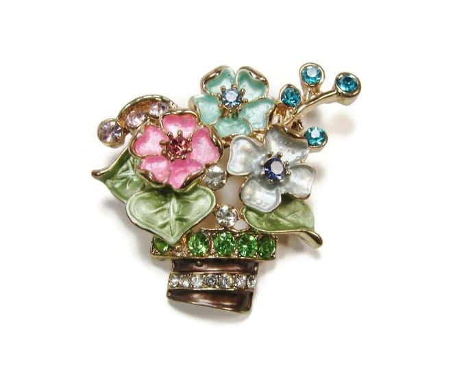 Vintage Rhinestone Enamel Flower Basket Brooch Pin