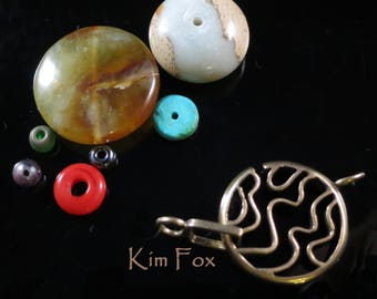 Medium Swirl Round Clasp for necklace or bracelet in bronze by Kim Fox