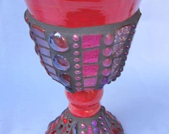 Mosaic Chalice Goblet Red