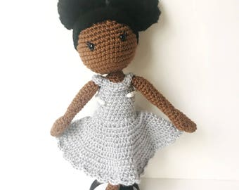 Afro Puff Black African American Gift For Girls Brown Skin Crochet Doll