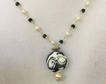Black and White Stone and Black and Pearl Bead Necklace