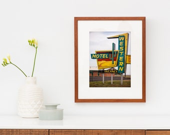 Route 66 Western Motel Sign   Neon Sign Art   Mid Century Modern Art   Western Decor   Cactus Decor   Oklahoma Art