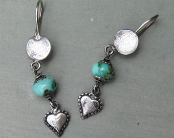 Turquoise Drop Earrings - Sterling Silver - Hill Tribe