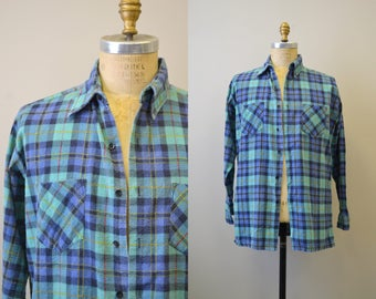 1980s Saugatuck Plaid Flannel Shirt