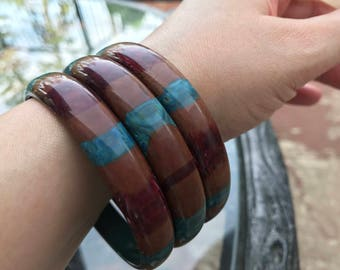 Trio of Mod Striped Lucite Bangles - Shades of Brown and Teal - ca. 1960s