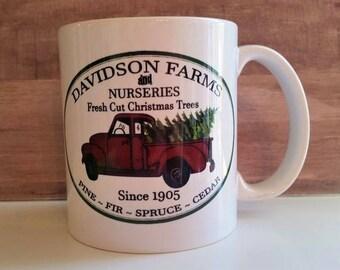 Tree farm mug, Red pick up truck mug, Christmas mug, truck with tree
