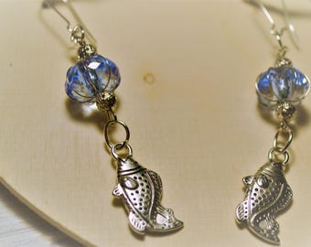 Earrings Fish Ocean Blue Bohemian Hippie Fish Beach Summer Fun