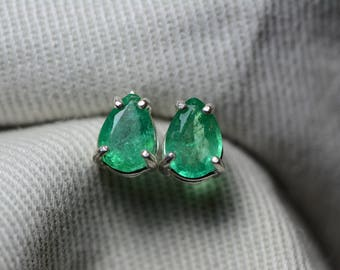 Emerald Earrings, Pear Cut Emerald Stud Earrings 0.88 Carat Appraised at 700.00 In Sterling Silver, May Birthstone, Natural Emerald
