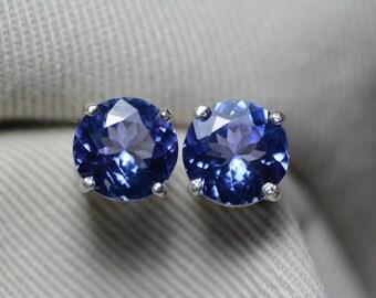 Tanzanite Earrings, Certified 3.41 Carat Round Cut Stud Earrings, Sterling Silver, Real Genuine Natural Blue Tanzanite Jewellery