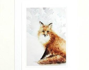 Watercolor Art Prints - Fox Painting Print  -  Rustic Art