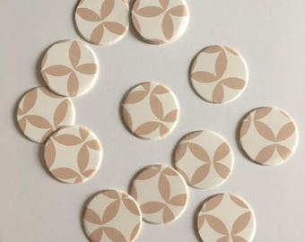 "1"" pre-cut CIRCLE CONFETTI (100 pc)  --  Tan/Ivory --  create you own garland, envelope seals, favor tags & more!"