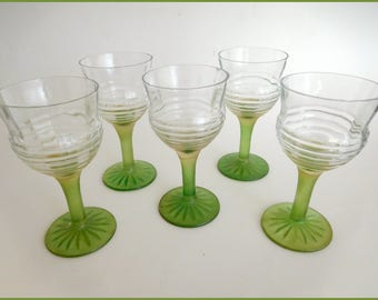 Vintage  Cordial Stemmed Glasses  (5)   Green Stem & Base ~ 1930s,40s  ~4 1/2""