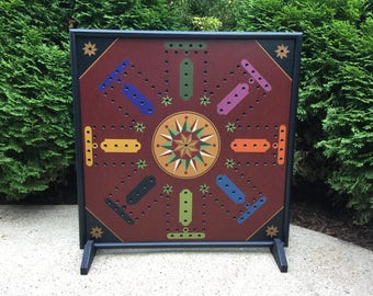 "25"", Aggravation, Game Board, Wood, Hand Painted, Wooden, Primitive, Folk Art, Board Game, Marbles, Frustration"