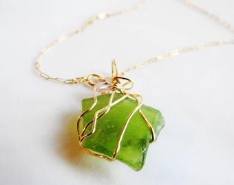 Greenland Sea Glass Necklace, Gold Wrapped Seaglass, Green Beachglass, Pink Swarovski, Rare Seaglass, Wirewrapped, Seaglass Gift, Unique
