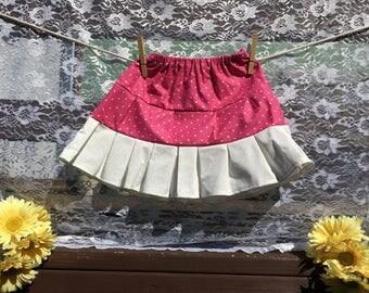 Pink Polka Dot Tier Skirt