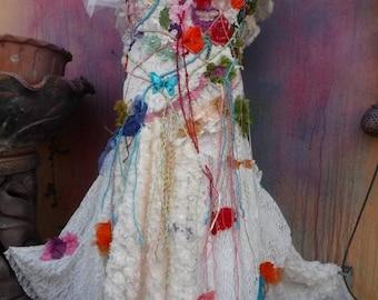 20%OFF wedding dress, wildskin, gypsy wedding, fantasy wedding, bohemian wedding, bohemian, boho, tattered dress, woodland, romantic, shabby