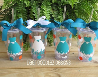 Personalized Clear Acrylic Wedding Bridal Party Tumbler Cup - 16 oz.