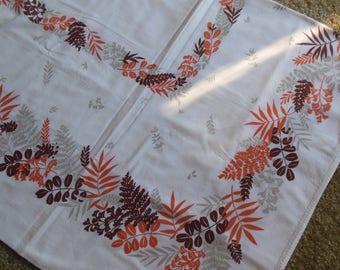 Vintage Ferns Print Tablecloth, 1950s Tablecloth cotton