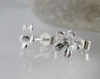 Sterling Silver Hammered Flower Ear Stud Earrings 7mm -  Handmade By CMcB Jewellery