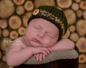 Textured button band hat for boys - camo baby hat - baby shower gift - bringing baby home - camo baby -  camo photo prop - made to order