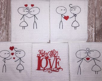 Stick people love kitchen towel - embroidered barmop towel - Valentine's Day gift - ready to ship