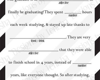 Graduation Mad Libs, Instant Download, Ad Lib, College, High School, Grad, Printable, Fill in the Blank, Decoration, Favor, DIY, Party, 201