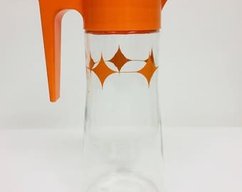 Vintage Tang Orange and Clear Anchor Hocking Pitcher with Diamond Pattern