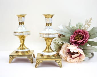 Pair of Vintage Candle Holders, Mother of Pearl and Brass Candle Holders, Red Velvet Storage Box, c.1970s