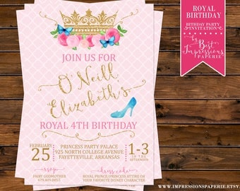 Royal Birthday - A Cinderella Inspired Royal Princess Birthday Party Invitation - Pink and Gold with Butterflies, Flowers and Glass Slipper