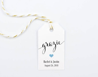 Grazie Favor Tag, Italian Thank You, Wedding Favor, Confetti Tag, Bomboniere - 1.25 x 2.25 inches, Set of 25, CAN