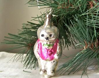 Vintage Glass Bear Christmas Ornament Hand Blown Glass Bear Pink Vest Czechoslovakia Holiday Ornament 1970s
