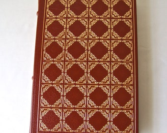 Vintage Red Badge Of Courage Stephen Crane 22k Gold Accents Full Leather Bound Franklin Library Hardcover Book Printed 1979