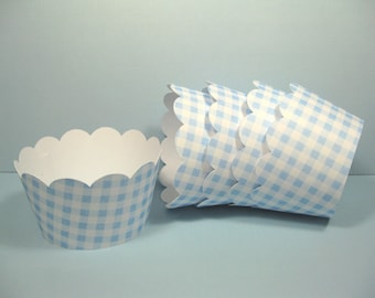 12 scalloped standard size cupcake wrappers - cupcake holder - boy baby shower - baby blue gingham cupcake wrappers - boy birthday