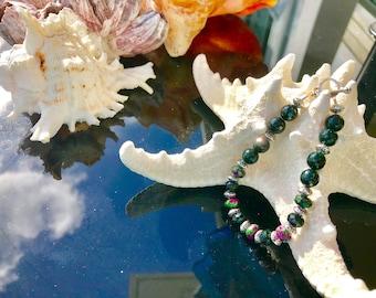 Green Goldstone & Ruby Zoisite Bracelet